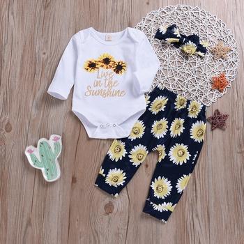 3-piece Bright Sunflower Patterned Bodysuit, Pants and Headband Set