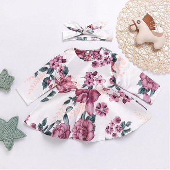Pretty Flower Patterned Long-sleeve Dress with Headband