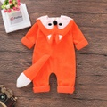Adorable Color Blocked Fox Design Jumpsuit in Orange
