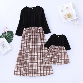 Casual Long-sleeve Plaid Matching Dress for Mom and Me