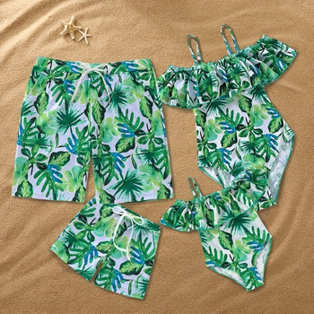 7bc408e949 Family Matching Banana Leavs Patterned Swim One-piece / Shorts