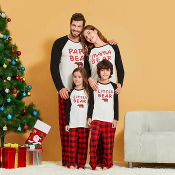 Family Bear Plaid Christmas Matching Pajamas Sets (Flame Resistant)