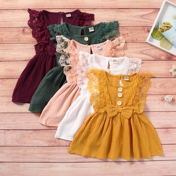 Baby Flutter-sleeve Solid Dresses
