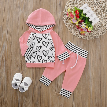 Baby Girl Heart Print Hoodie and Striped Pants Set