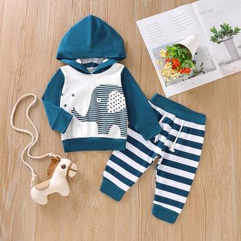 Baby Boy Striped Elephant Hoodie and Pants Set