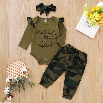 3pcs Baby Girl Sweet Camouflage Baby's Sets Long Sleeve Romper Infant Clothing Outfits
