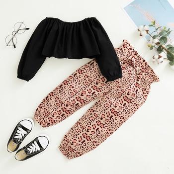 Toddler Girl Solid Top & Leopard Pants Set
