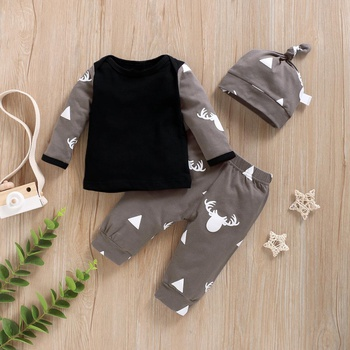 3-piece Elk Triangle Patterned Long Sleeve Top, Bottom and Hat Set for Baby