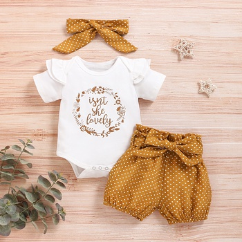 3-piece Letter Print Bodysuit and Dotted Shorts Set