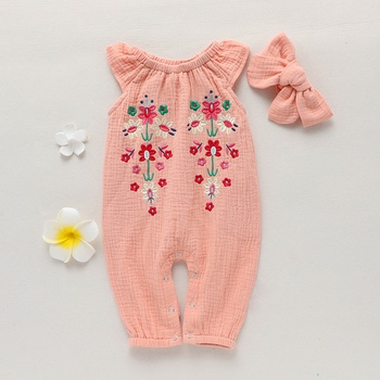 fe3c832008e 2-piece Baby Toddler Girl s Embroidered Jumpsuit and Bow Headband