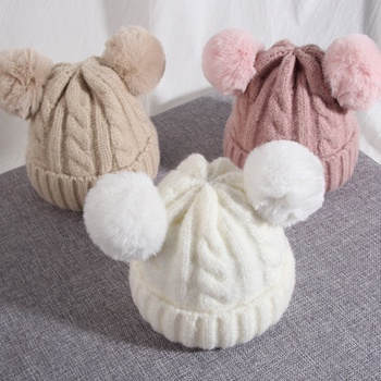 Cute Ears Design Solid Knit Hat