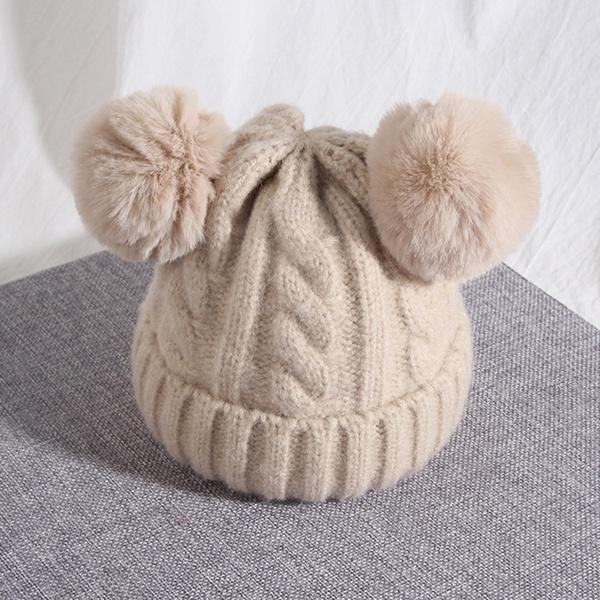 Cute Ears Design Solid Knit Hat