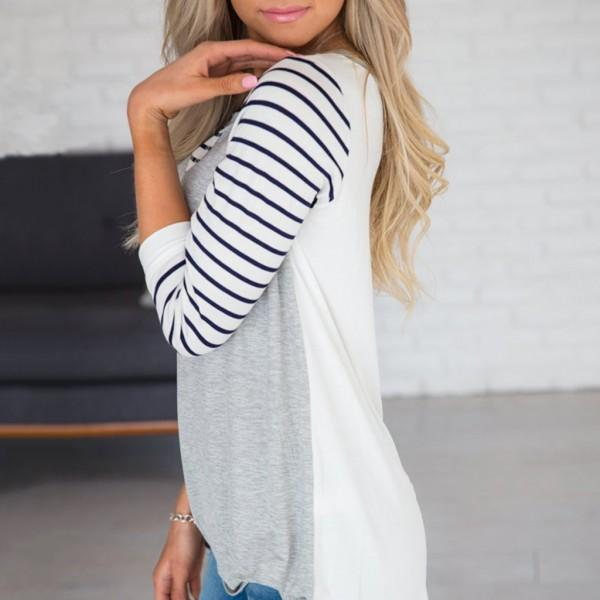Casual Striped Long-sleeve T-shirt
