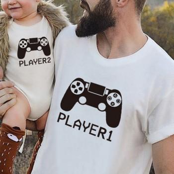 Stylish Player Print Short-sleeve Family Matching Top