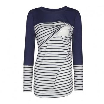 Fashionable Striped Long-sleeve Maternity Top