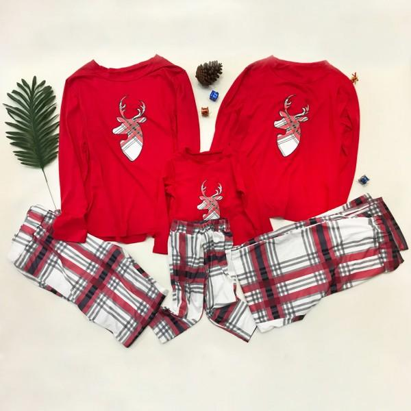 Stylish Deer Appliqued Long-sleeve Top and Plaid Pants Family Matching Set