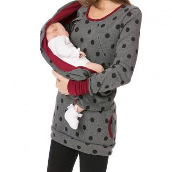 Comfy Floral Long-sleeve Turtleneck Maternity Hoodie