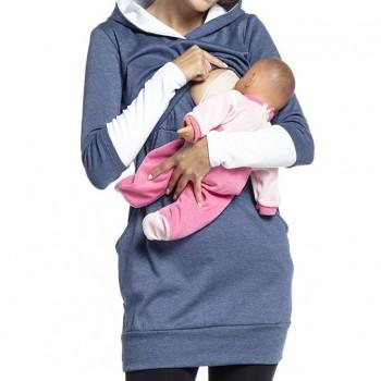 Fashionable Striped Long-sleeve Maternity Hoodie