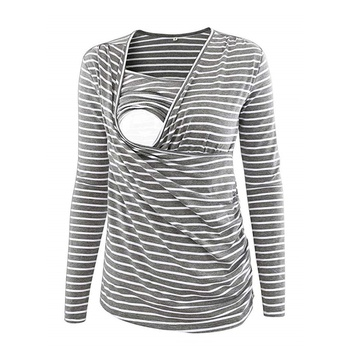 Sassy Striped Long-sleeve Maternity Top