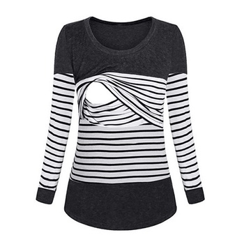 Stylish Striped Long-sleeve Maternity T-shirt