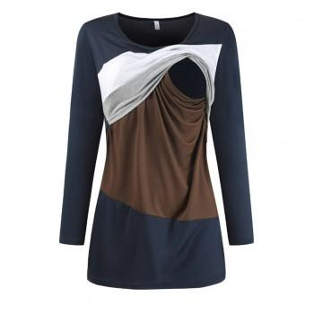 Sassy Color Blocked Long-sleeve Maternity T-shirt