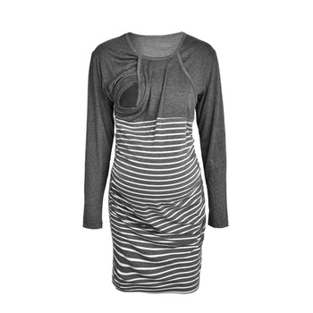 Pretty Striped Long-sleeve Maternity Dress in Grey