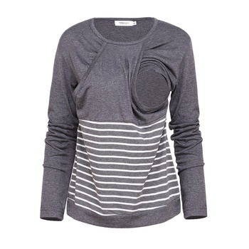 Trendy Striped Long-sleeve Maternity Top