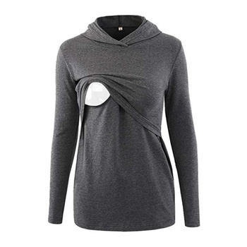 Fashionable Solid Long-sleeve Maternity Hoodie