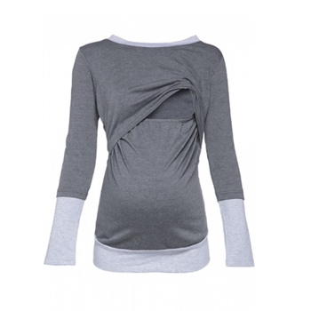 Comfy Color Blocked Long-sleeve Maternity Top