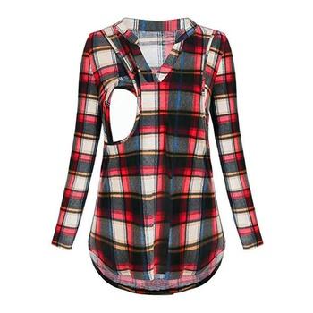 Stylish Plaid Long-sleeve Nursing Shirt