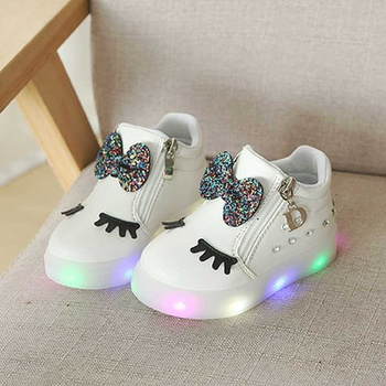 72c686221450 Cute Bow and Rhinestone Decor LED Board Shoes for Toddler Girl and Girl