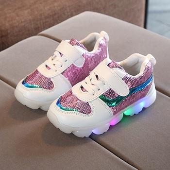 Stylish LED Glitter Sequined Velcro Closure Shoes