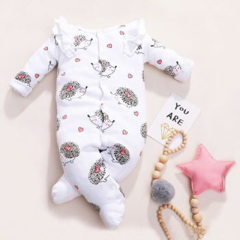 Lovely Heart Hedgehog Printed Long-sleeve Jumpsuit for Baby