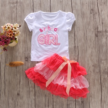cf613b0f1be Baby  Toddler Girl s Birthday Letter Top and Colorful Tulle Skirt