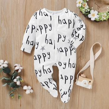 Casual Allover HAPPY Footie Jumpsuit for Baby