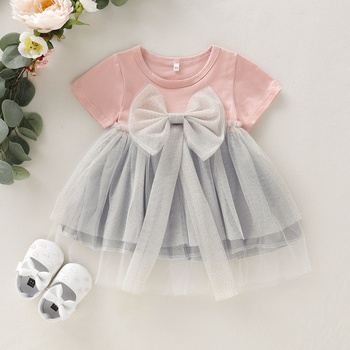 35ae21a4df2 Baby   Toddler Solid Bowknot Decor Mesh Dress