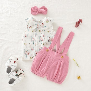9c32b905adca 3-piece Baby / Toddler Sweet Floral Sleeveless Top and Suspender Shorts  with Headband Set