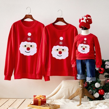 Christmas Santa Graphic Family Matching Cotton Sweatshirts