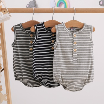 Baby Solid Striped Romper