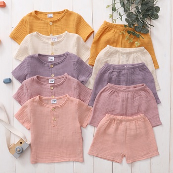 2pcs Summer Cotton Short-sleeve Baby Unisex casual Baby's Sets
