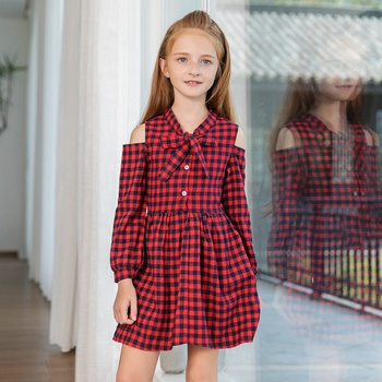 Plaid Pattern Long-sleeve Christmas Dress in Red for Girls