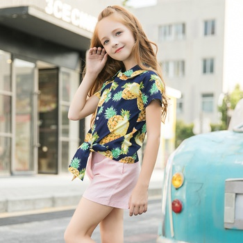 Pretty Pineapple Print Short-sleeve Top and Shorts Set for Toddler Girls
