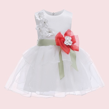 Chic 3D Flower and Pearl Decor Tiered Design Party Dress
