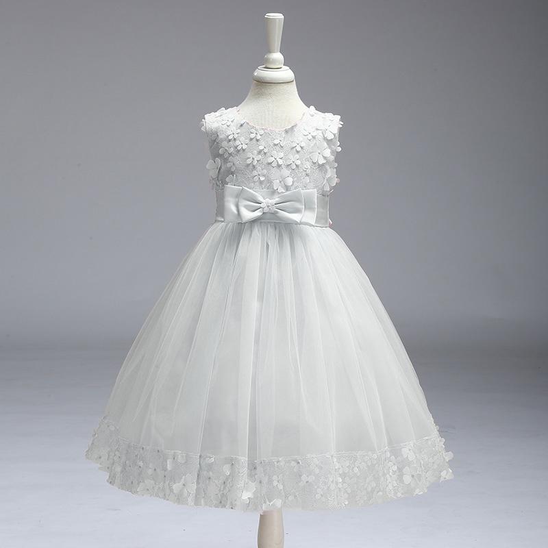 80ec5e0d018 Elegant Appliqued Floral Sleeveless A-Line Wedding Dress Party Dress for  Girls