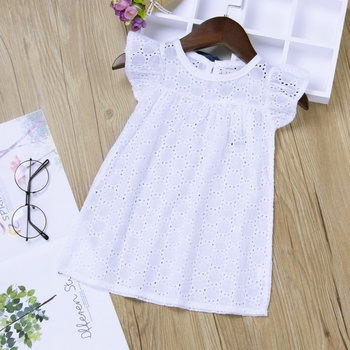 Breathable Flutter Sleeves Hollow Out Dress for Baby Girl