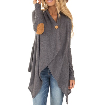 Women Stylish Asymmetric Knitted Cardigan in Grey