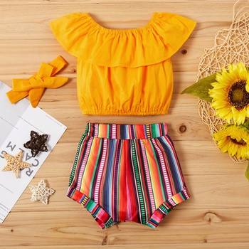 3-piece Baby Girl Flounced Top and Multi-color Shorts Set