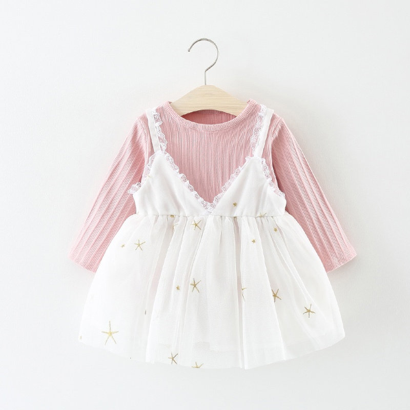 c19db4ae3 Baby 2-piece Pretty Long-sleeve Tee and Embroider Star Strap Lace ...