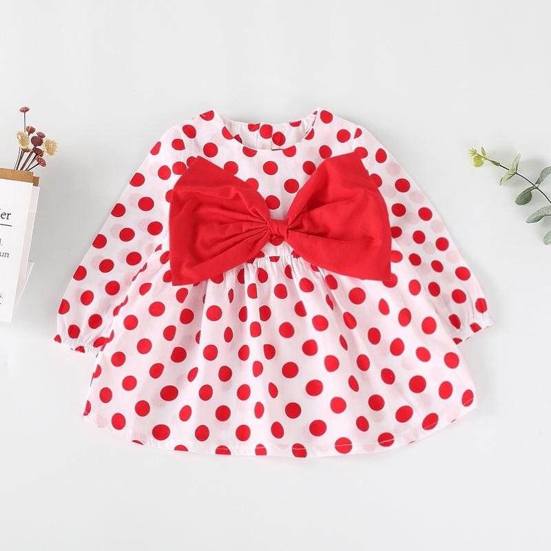 13f047430 Baby Cute Dotted Big Bow Decor Long-sleeve Dress at PatPat.com