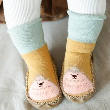 Cute Animal Pattern Color Blocked Floor Socks